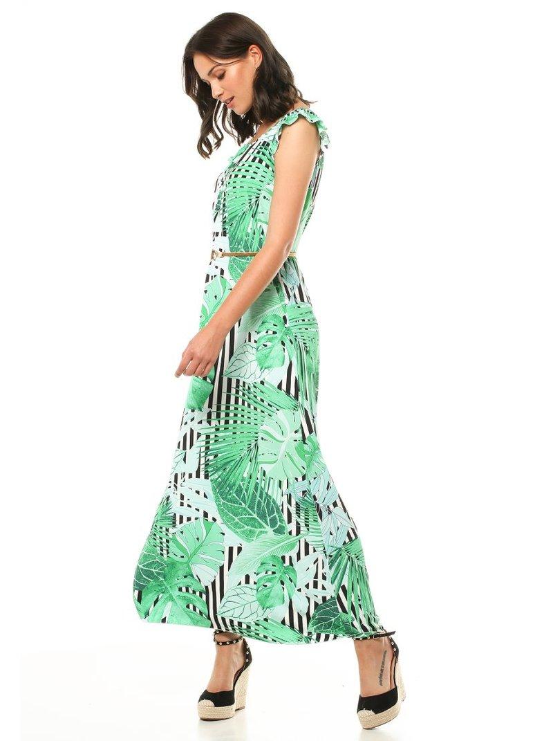 Vestido largo con mini manga estampado rayas