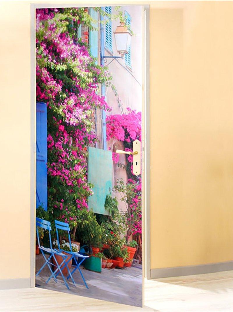 Film decorativo para puerta flores buganvilla en PVC