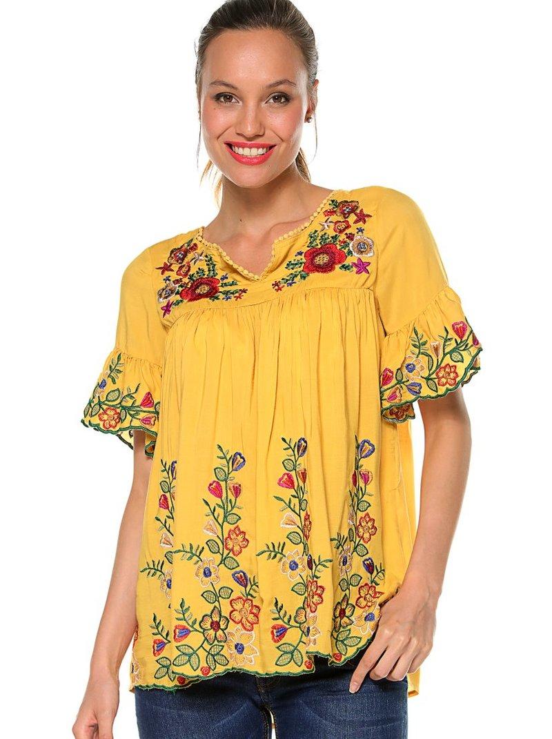 Blusa bordado floral multicolor con pasamanería
