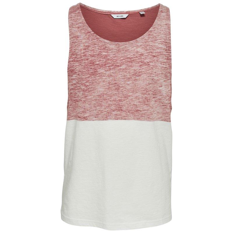 Camiseta larga sin mangas bicolor