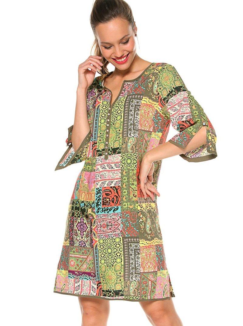 Vestido patchwork con perlas fantasía