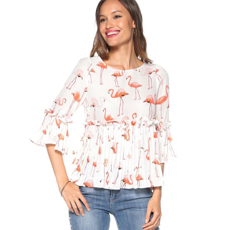 Blusa gasa semitransparente flamencos volante plisado