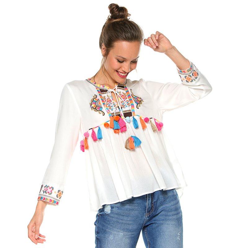 Blusa escote caftán multicolor pompones y borlas