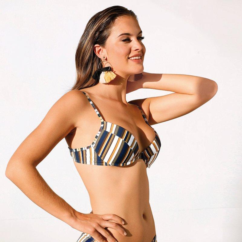 Sujetador bikini con aros print rayas