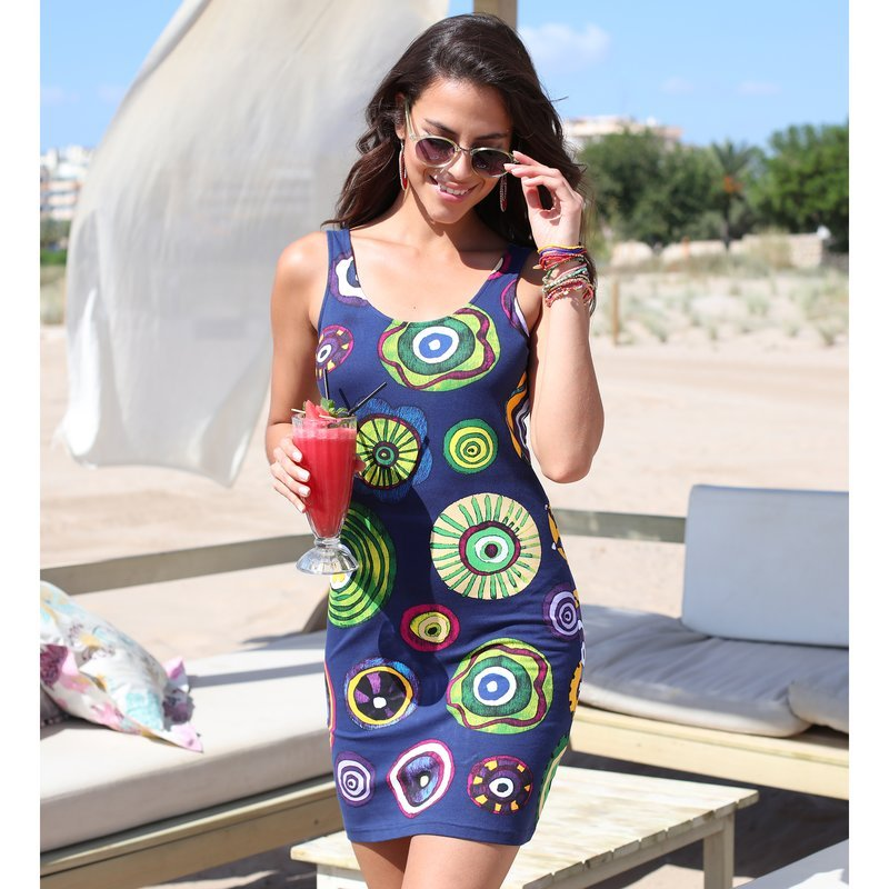 Vestido sin mangas estampado multicolor