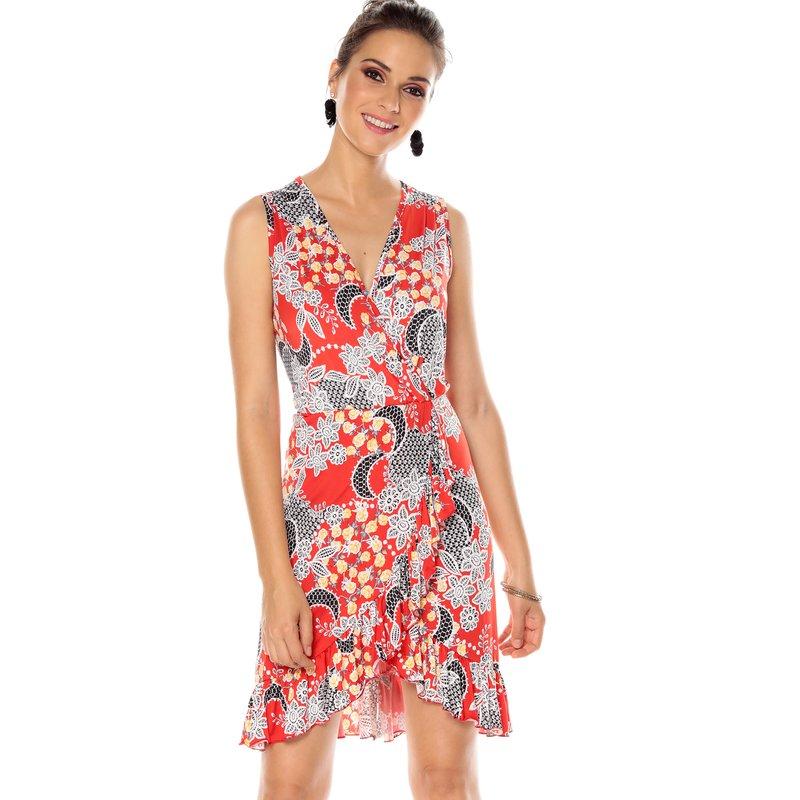 Vestido escote V de punto flores detalles relieve