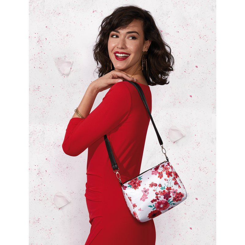 Bolso messenger estampado satinado
