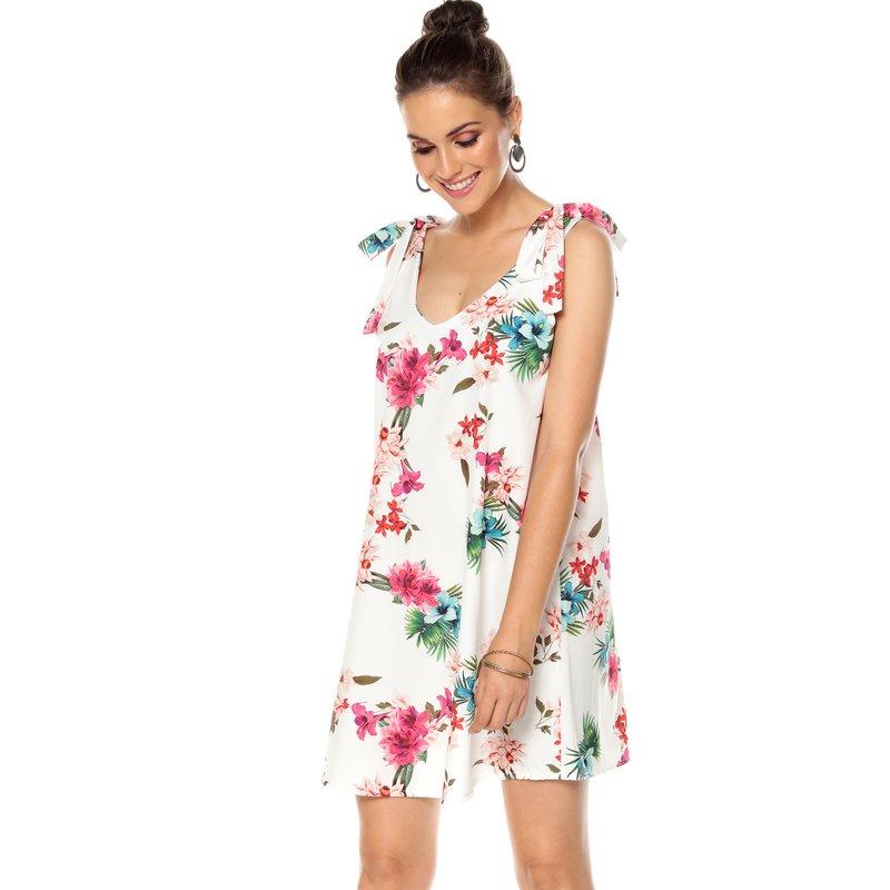 Vestido tejido estampado flores con escote en V