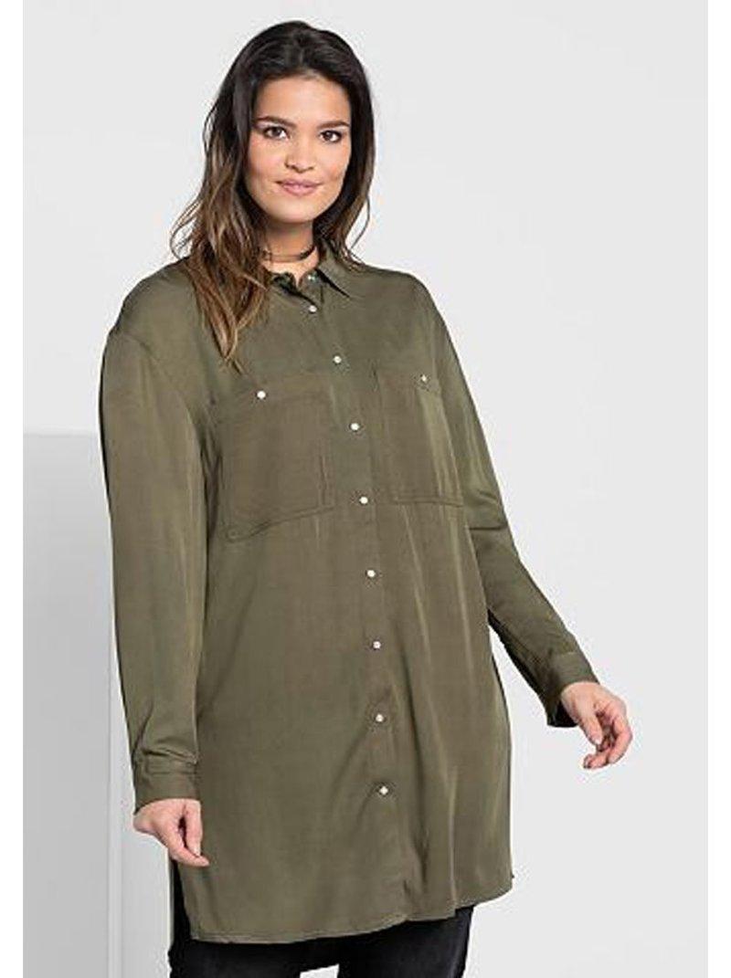 Camisa manga larga con bolsillos tallas grandes