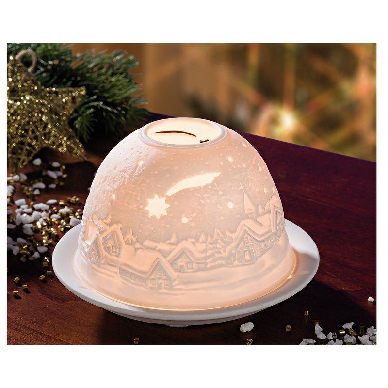 Portavelas navideño campana de luz de porcelana