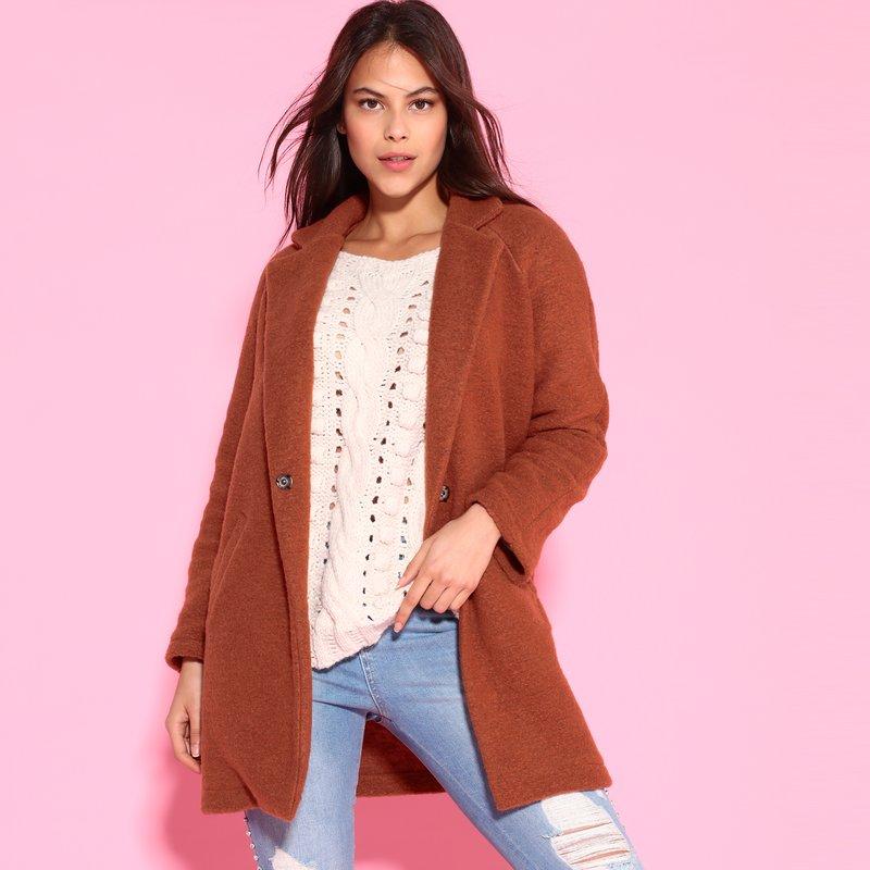 Abrigo de lana con bolsillos
