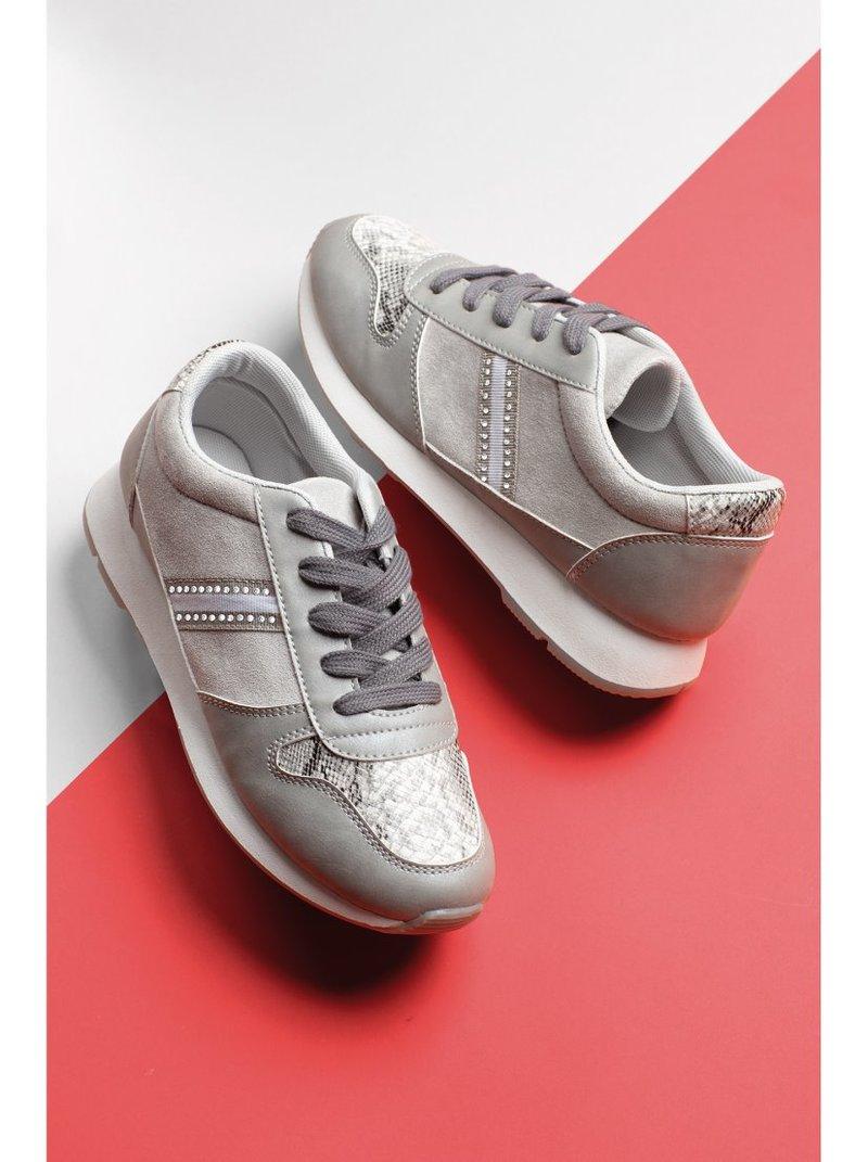 Zapatillas deportivas strass y print pitón