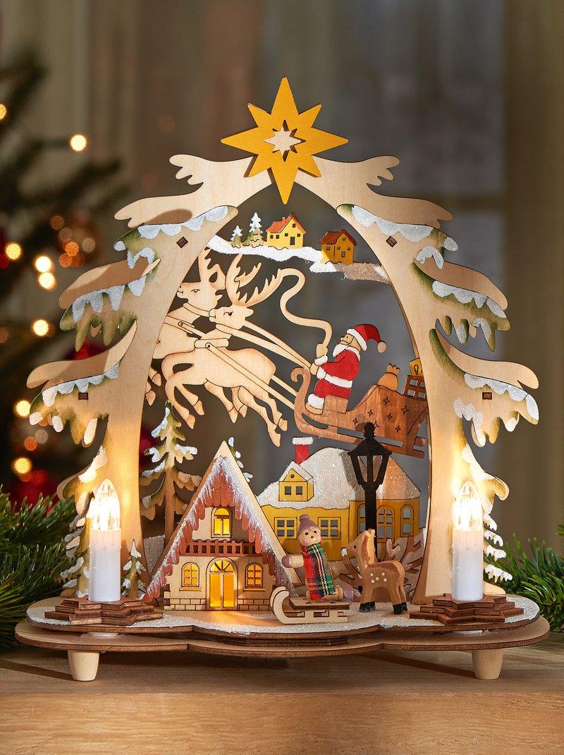 Portavelas navideño de madera con luz LED