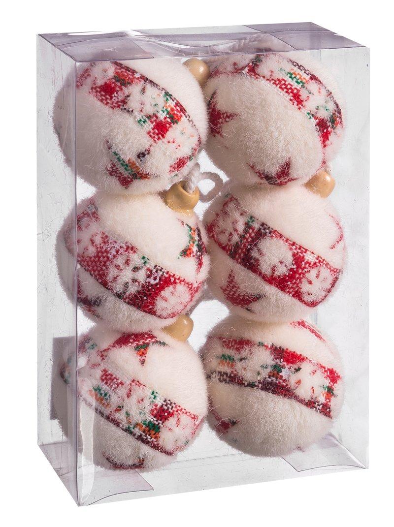 Lote 6 bolas de navidad estampado estrellas