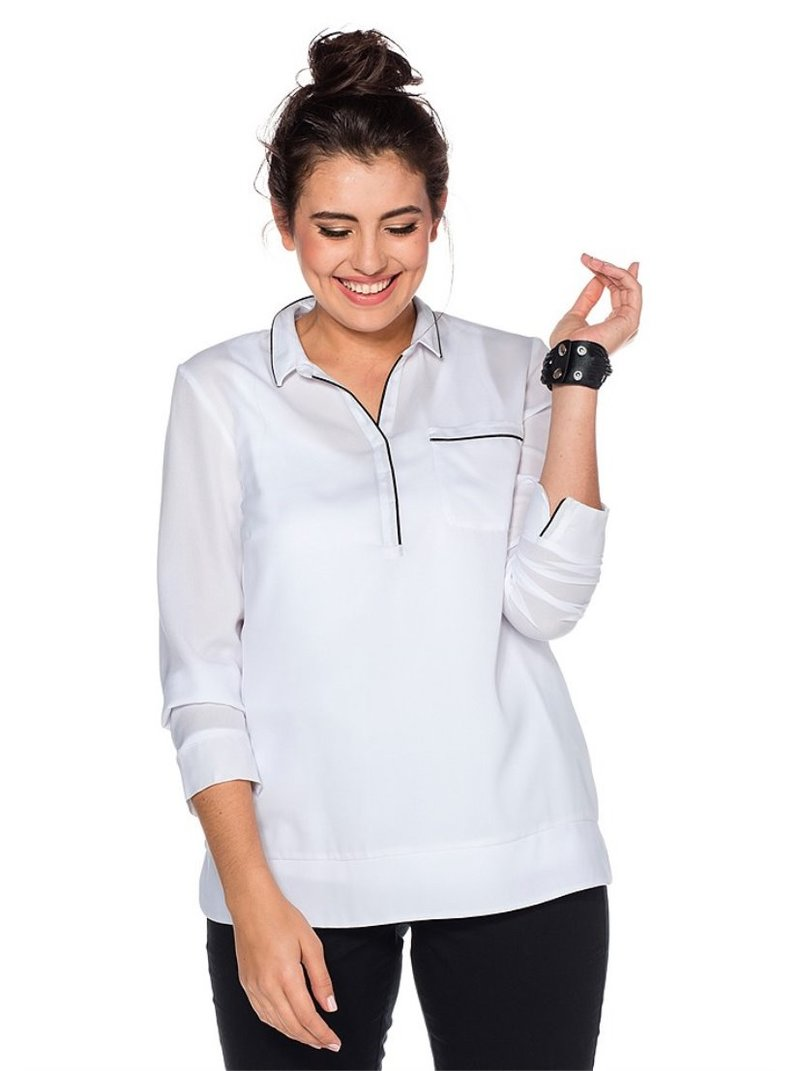 Blusa blanca manga larga mujer