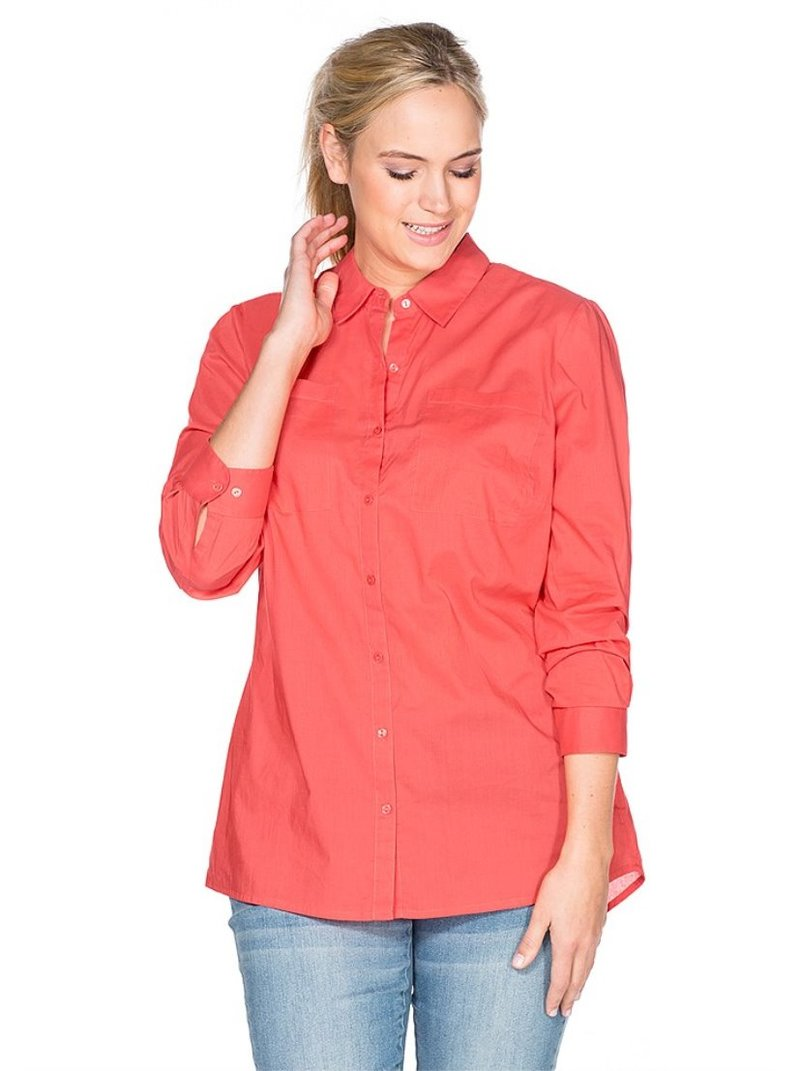 Blusa de color coral manga larga mujer