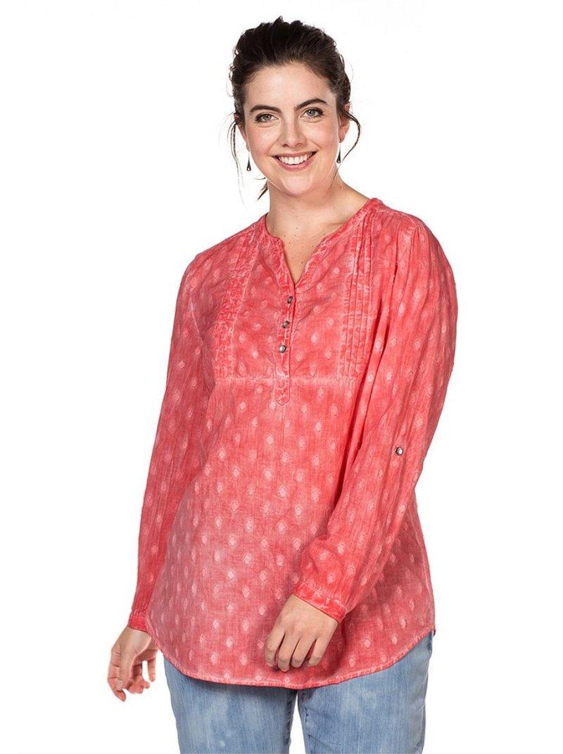 Blusa túnica con bordado y efecto oil-wash mujer
