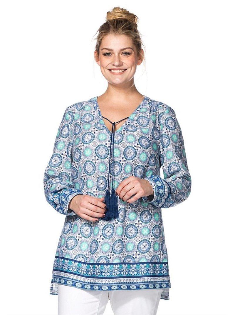 Blusa túnica estampada con flecos mujer