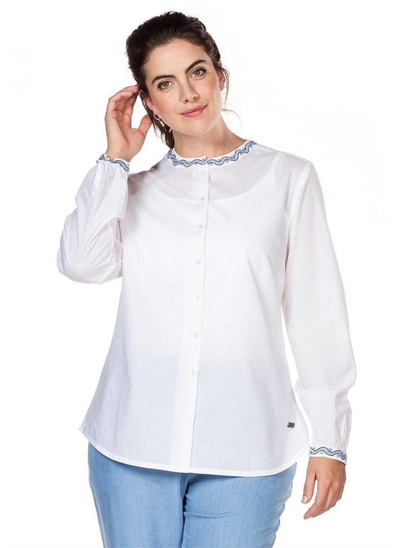 Blusa vaporosa con bordado en cuello mujer