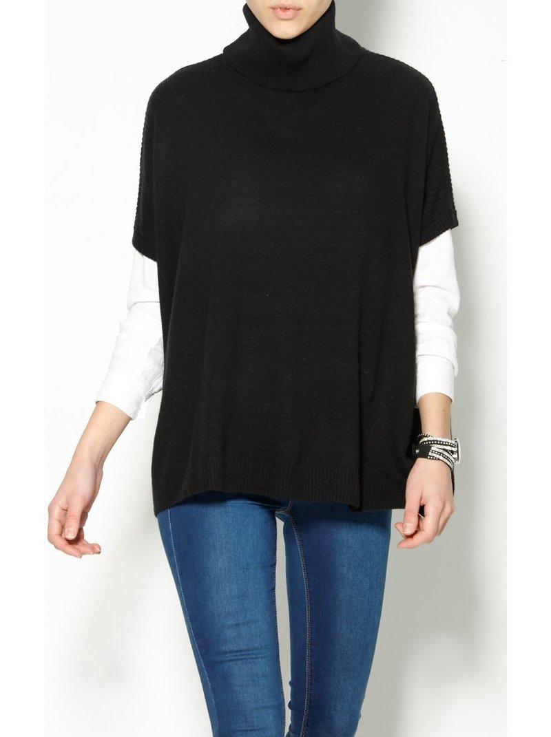 Jersey manga corta cuello alto mujer - Negro