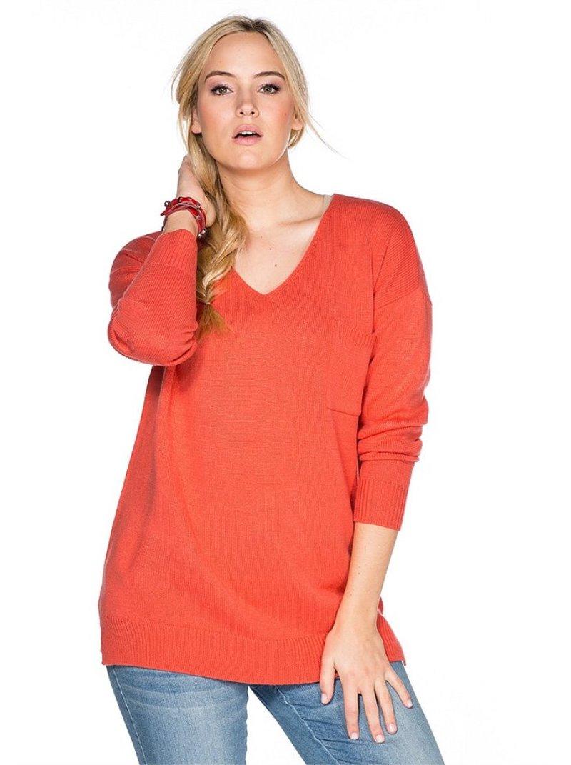 Jersey mujer escote pico en color coral