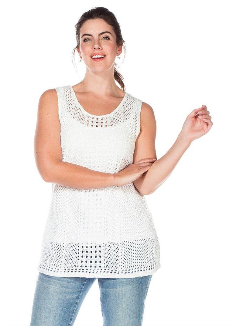 Jersey sin mangas efecto calado mujer