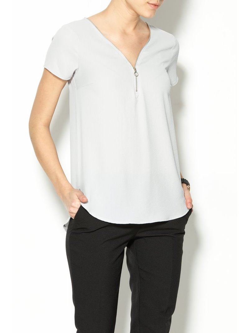 Blusa con cremallera frontal mujer - Gris