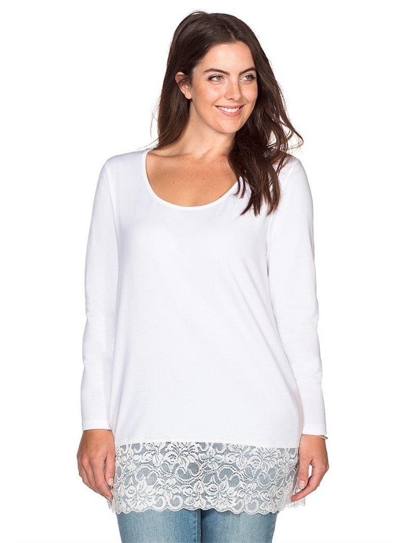 Camiseta de con encaje manga larga mujer