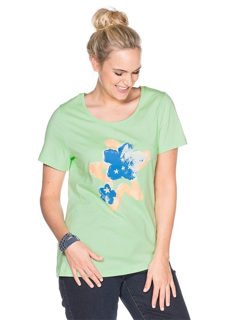 Camiseta verde manzana mujer manga corta