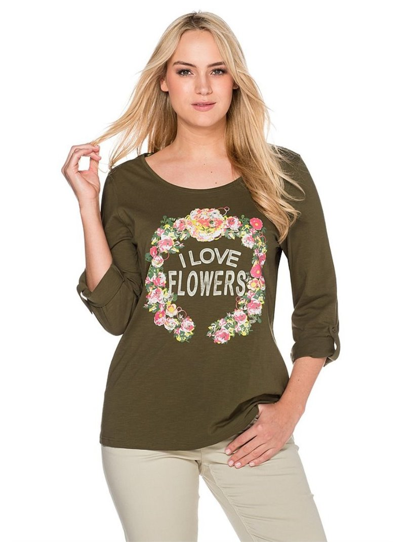 Camiseta mujer estampado gráfico y flores