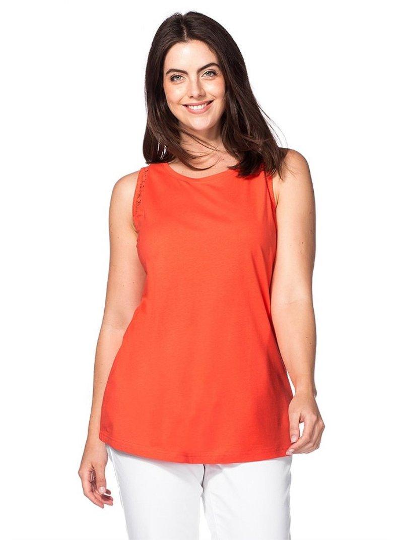 Camiseta sin mangas con ganchillo en sisas mujer
