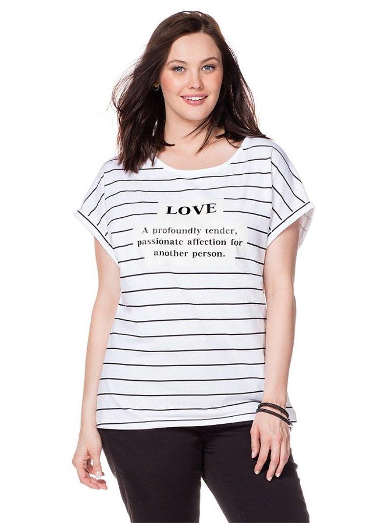 Camiseta manga corta estampado romántico mujer