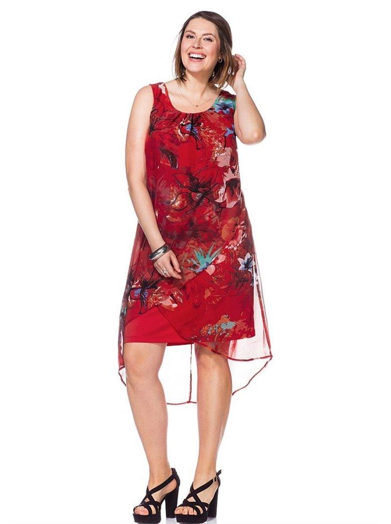 Vestido asimétrico con flores multicolores mujer