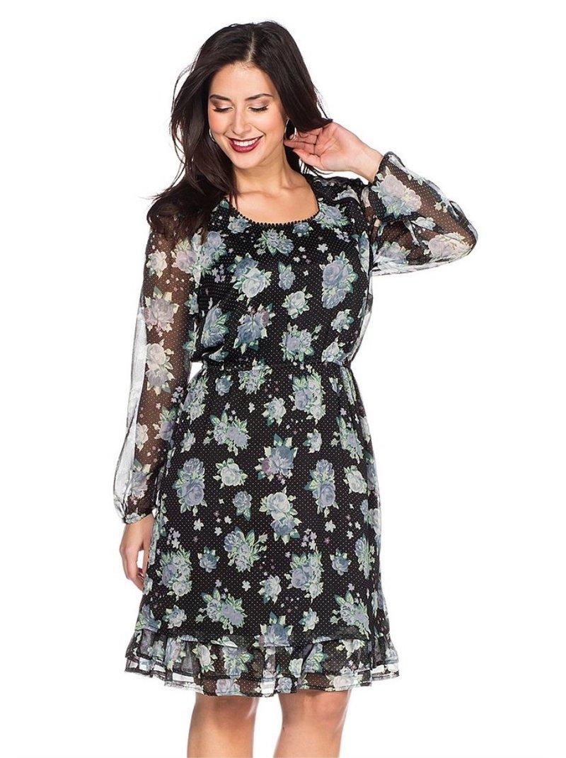 Vestido chifón con flores y puntitos mujer