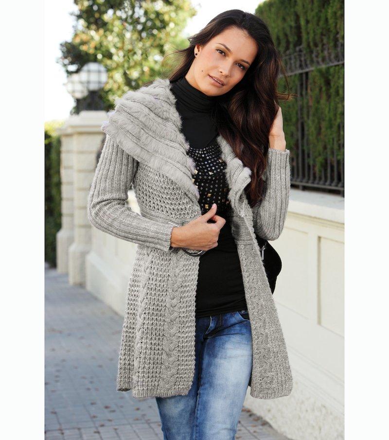 Abrigo tricot mujer punto fantasía