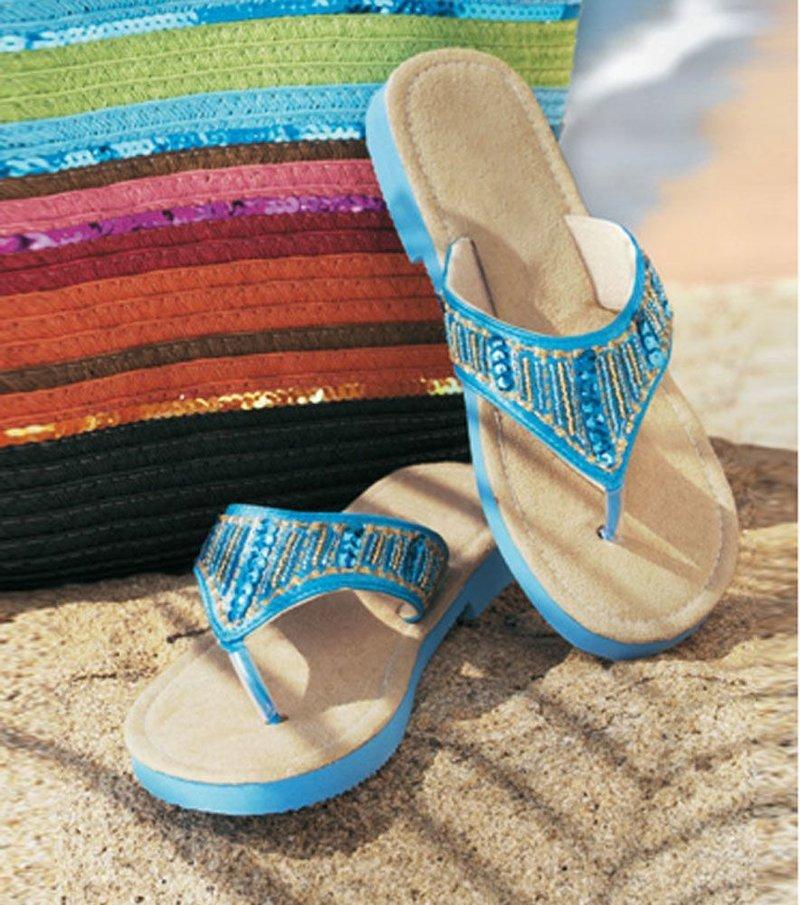 Zapatilla de playa con lentejuelas