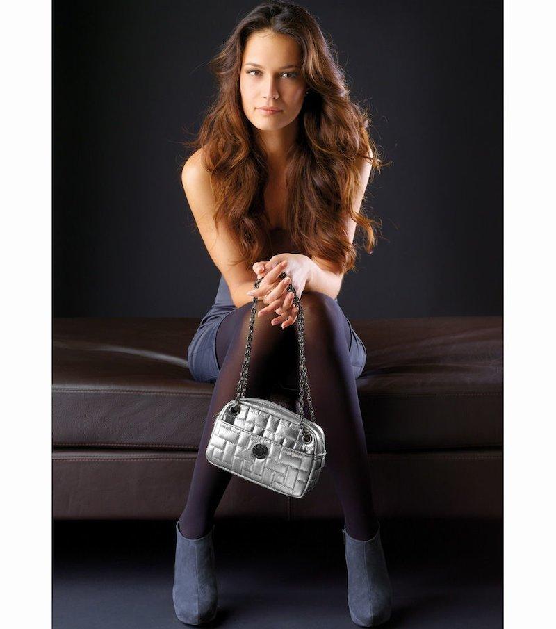 Bolso mujer gris plateado