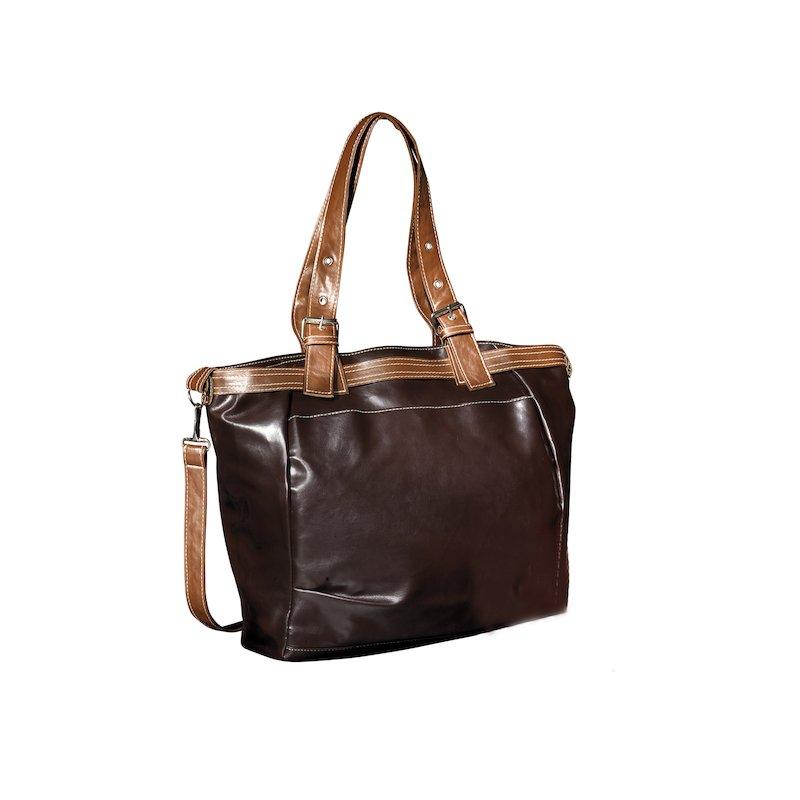 Bolso tipo shopping con detalles a contraste símil piel