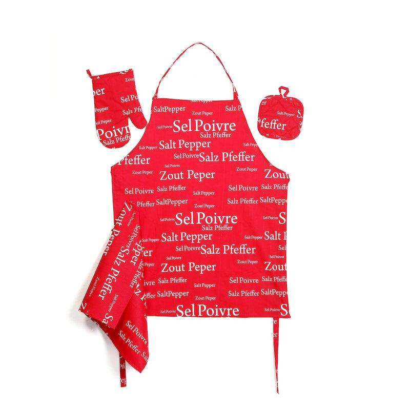 Set textil de cocina 4 piezas rojo