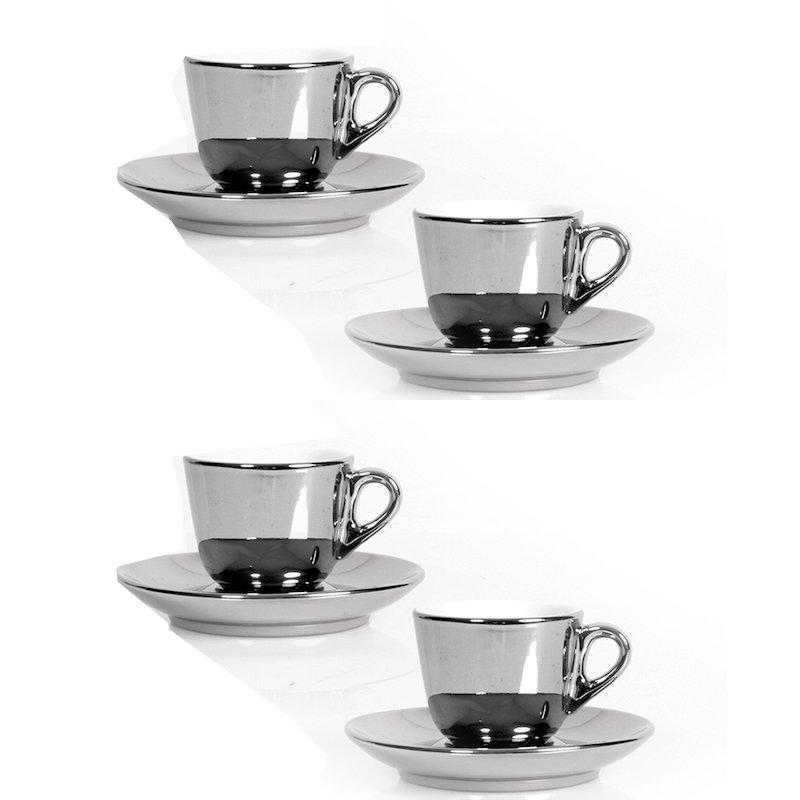 Juego de café 4 piezas plateado