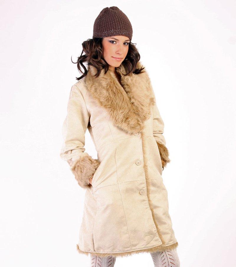 Abrigo largo mujer con pelo