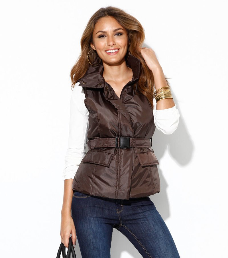 Chaleco mujer acolchado con bolsillos y cinturón - Marrón