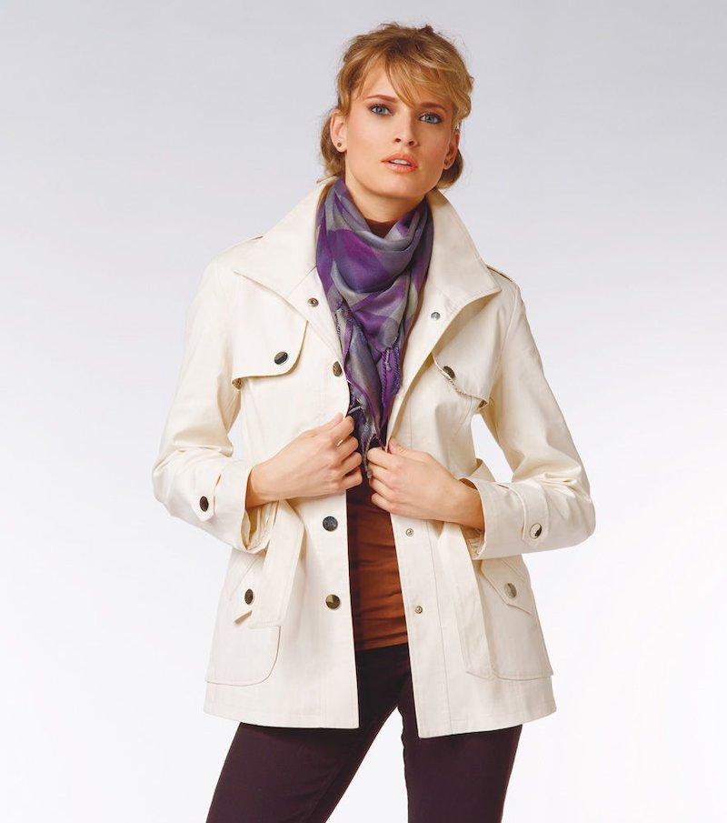 Chaqueta gabardina mujer manga larga con capucha