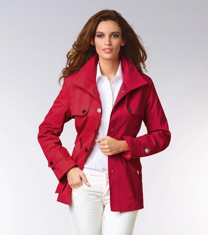 Chaqueta gabardina mujer manga larga con capucha - Rojo
