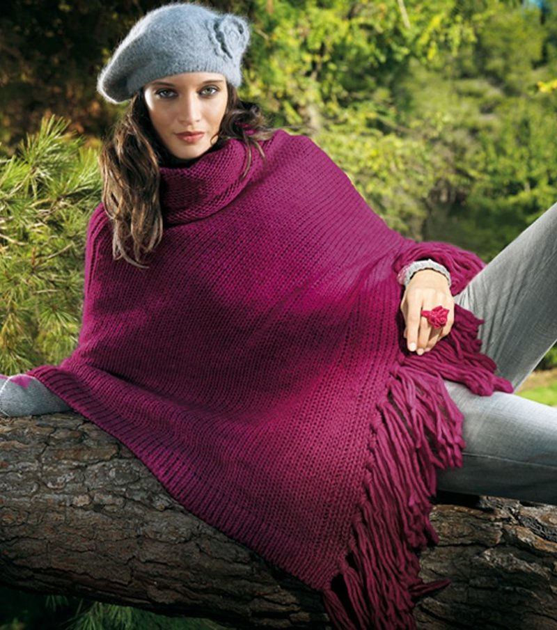 Poncho mujer punto tricot - Lila