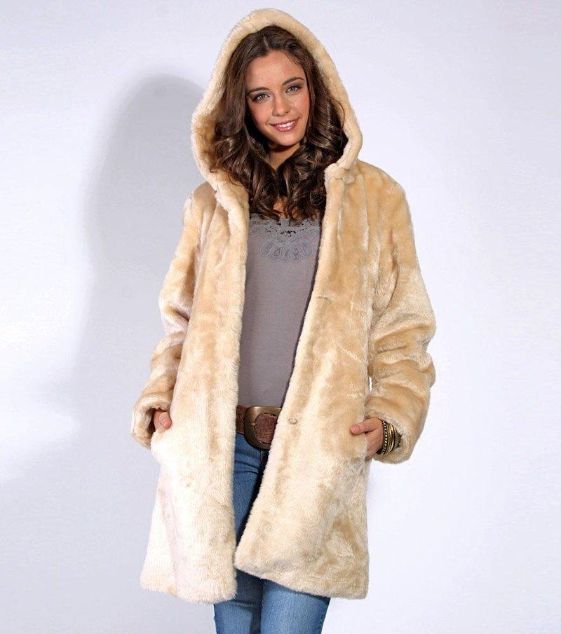 Abrigo mujer pelo largo sintético