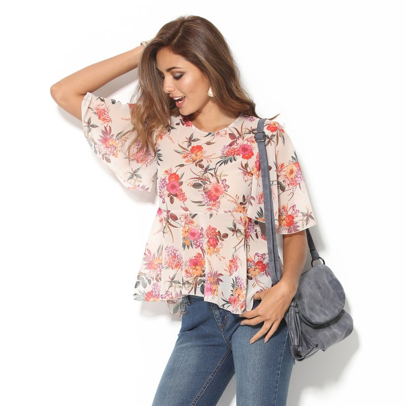 Blusa mujer manga capa estampada diseño de flores - Crudo