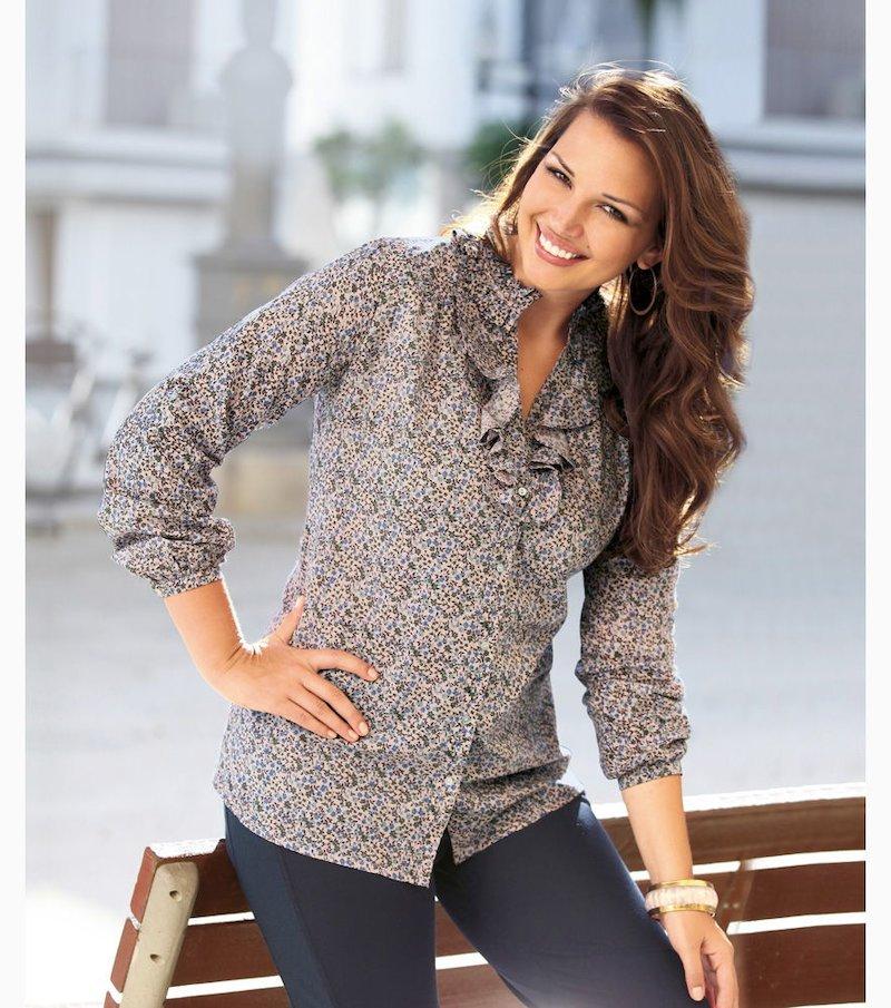 Camisa blusa mujer larga con volante 100% algodón