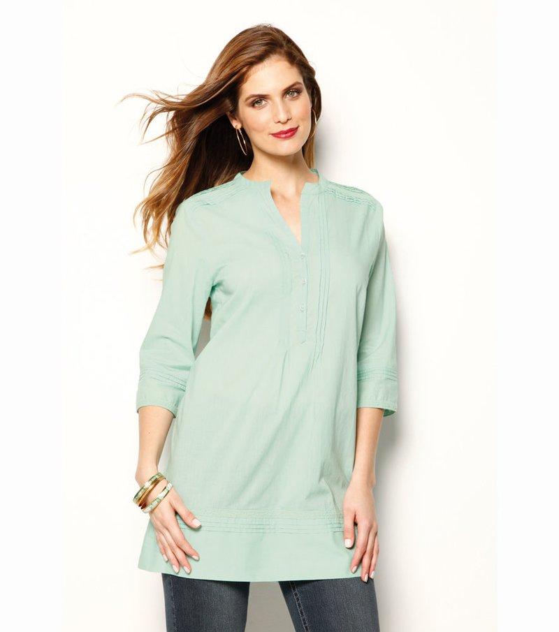Camisa larga mujer manga 3/4 con jaretas bordada