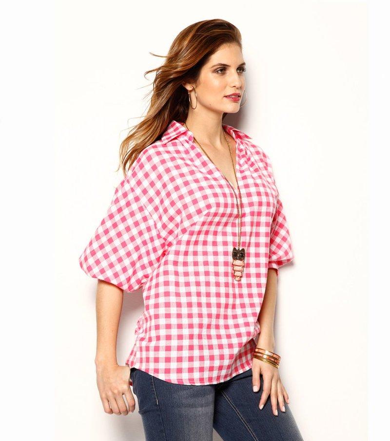 Camisa blusa mujer cuadros 100% algodón